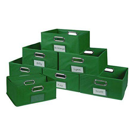 Niche Cubo Set Of 12 Half Size Foldable Fabric Storage Bins  Blue, Green