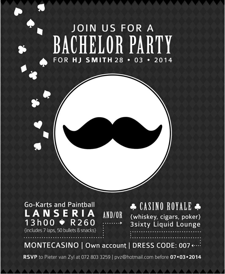007-themed bachelor's invitation by Little Red Rabbit