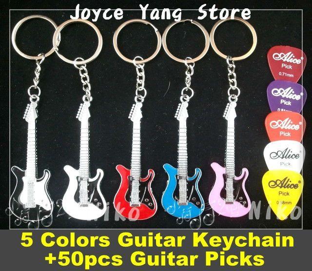 St Style Electric Guitar Keychain 5 Colors 50pcs Acoustic Electric