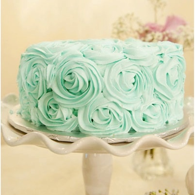 Rosette decorated cake - also try in ombre - light to dark on bottom