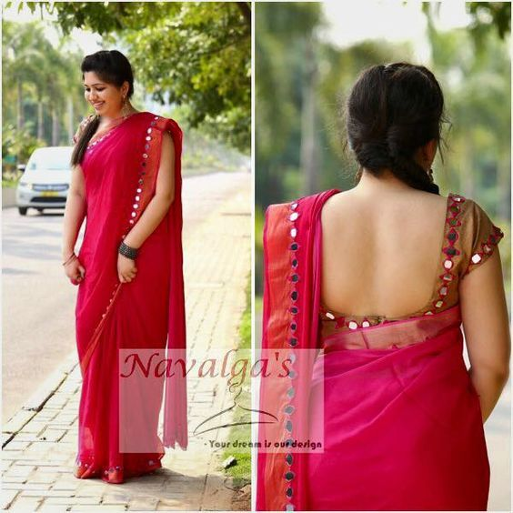simple mirror work saree: