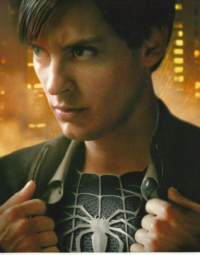 Spider-man Spiderman 3 Tobey Maguire opening Shirt to show Black suit 8x10 Photo Vertical @ niftywarehouse.com