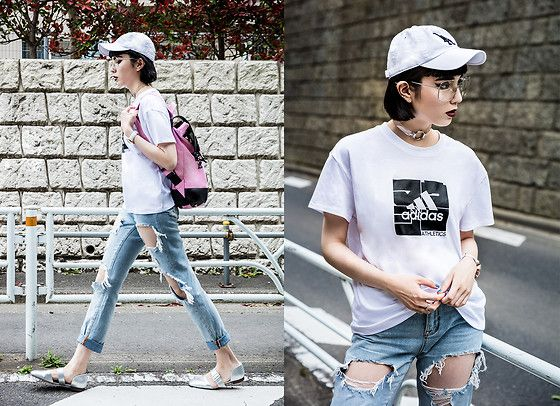 Get this look: http://lb.nu/look/8705379  More looks by Samantha Mariko: http://lb.nu/samanthamariko  Items in this look:  American Needle Cap, Moussy X Adidas T Shirt, Choke Me Jewelry Choker, Zero Uv Glasses, Urban Outfitters Jeans, Gaston Luga Backpack, Charles & Keith Flats   #casual #sporty #street #pink #backpack #girly #streetstyle #tokyo