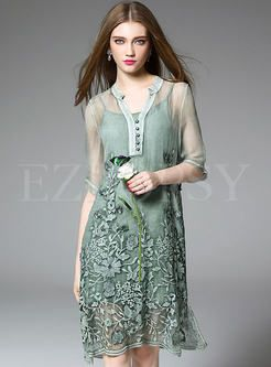 Silk Embroidery Mesh Patch Dress