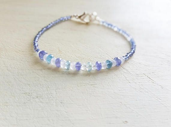 White Blue Moonstone Blue Tanzanite Kyanite Blue Green Topaz Aquamarine Natural Gemstone Bracelet, Beaded Stacking Bracelet    47,00 US$