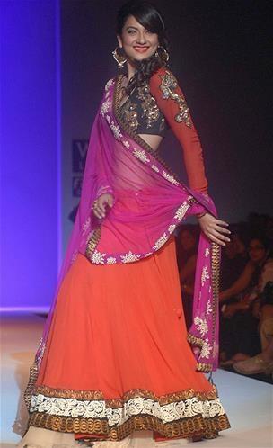 Gauhar Khan as showstopper for Joy Mitra http://www.facebook.com/joy.mitra in Gorgeous #Lehenga at Wills Fashion Week. #Desi #AW13 ~ (© Cameraworx)