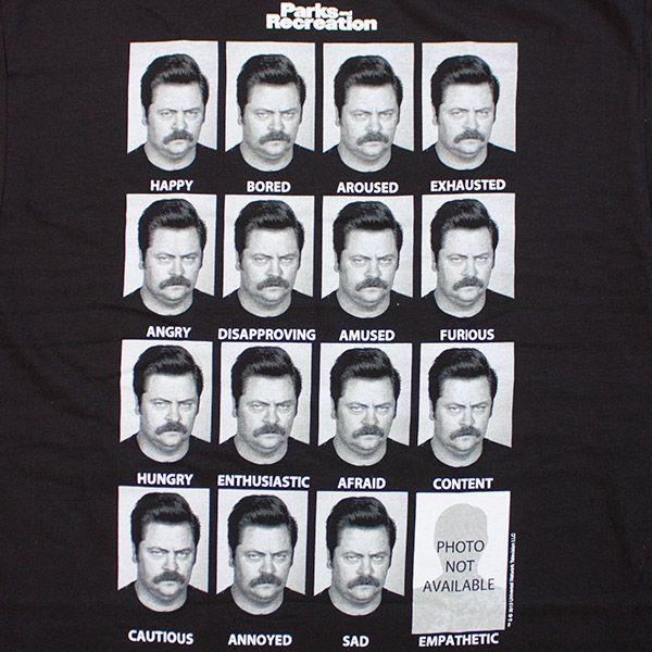 Parks and Recreation Many Faces of Ron Swanson T Shirt | TVMovieDepot.com