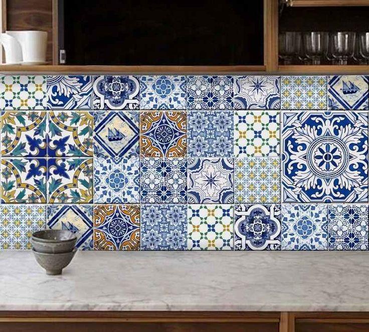 crédence cuisine en carreaux de ciment zellige par Bleucoin