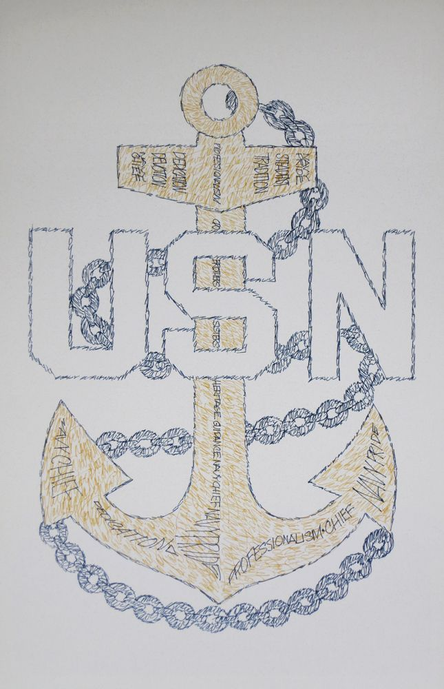 Navy Chief Petty Officer CPO E7 Art, Retirement and Promotion Gifts. See http://drawdogs.com/product-category/us-navy-emblems/ for Artist Kline's lithograph drawn from the words Navy Chief, Navy pride, Dedication, Devotion, Steadfast, Guidance, Brothers, Sisters, Heritage, CPO, Tradition and Professionalism. #NavyChief