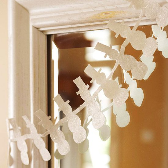 Snowman Garland..watch for glitter scrapbook paper to go on sale...wouldn't this be cute in shades of pastel blue, turqoise, lavendar?