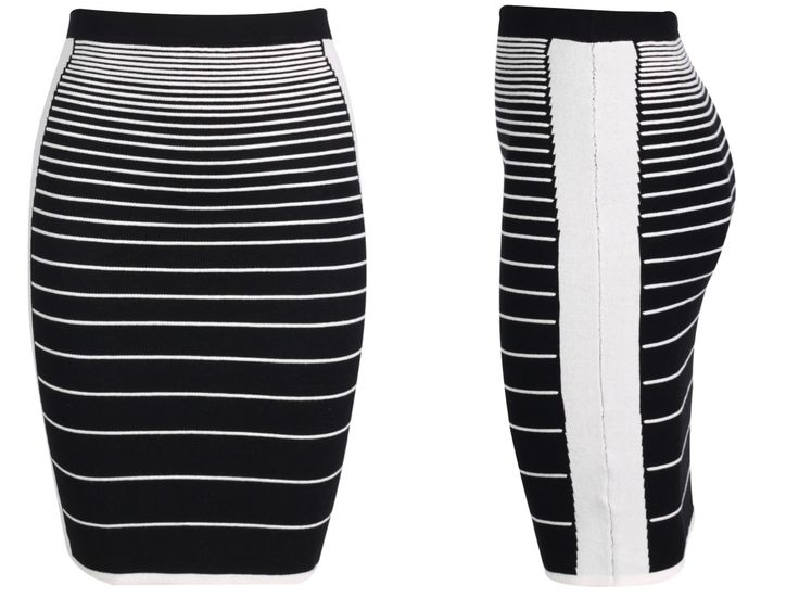 Monochrome Striped Knitted Pencil Skirt R370