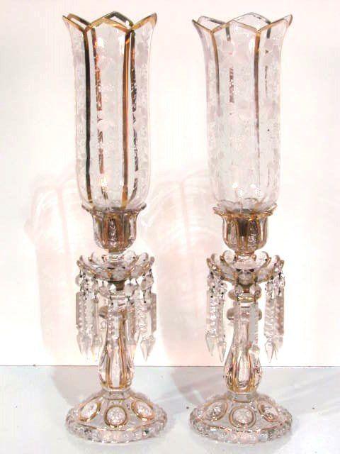 Pair Bohemian Glass Gilt Hurricane Candleholders Mantle