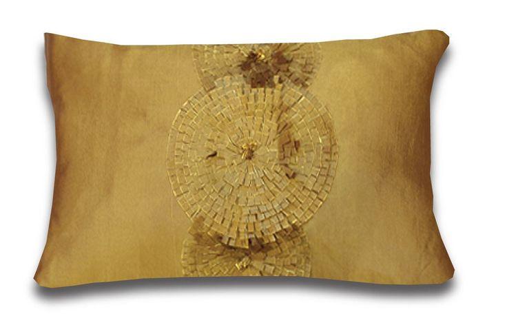 "Ruffles Gold Cushion 14 x 20"""