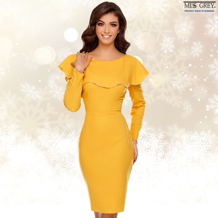 Make your winter more beautiful wearing a day dress in a gorgeous yellow shade, that will give you energy and joy in the cold December days