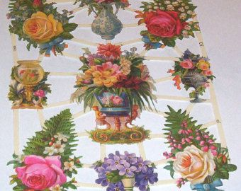 15 Sheets New German beautiful Victorian vases flowers pink red yellow roses diecuts scraps EF 7266 paper crafts card making scrap booking