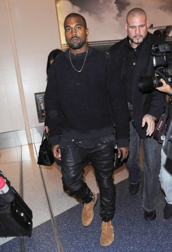 e771dae62 Kanye West in Balmain Moto Leather Pants   Celebrities in Designer Jeans  from Denim Blog
