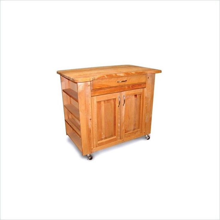 catskill craftsmen deep storage medium butcher block kitchen cart in natural finish