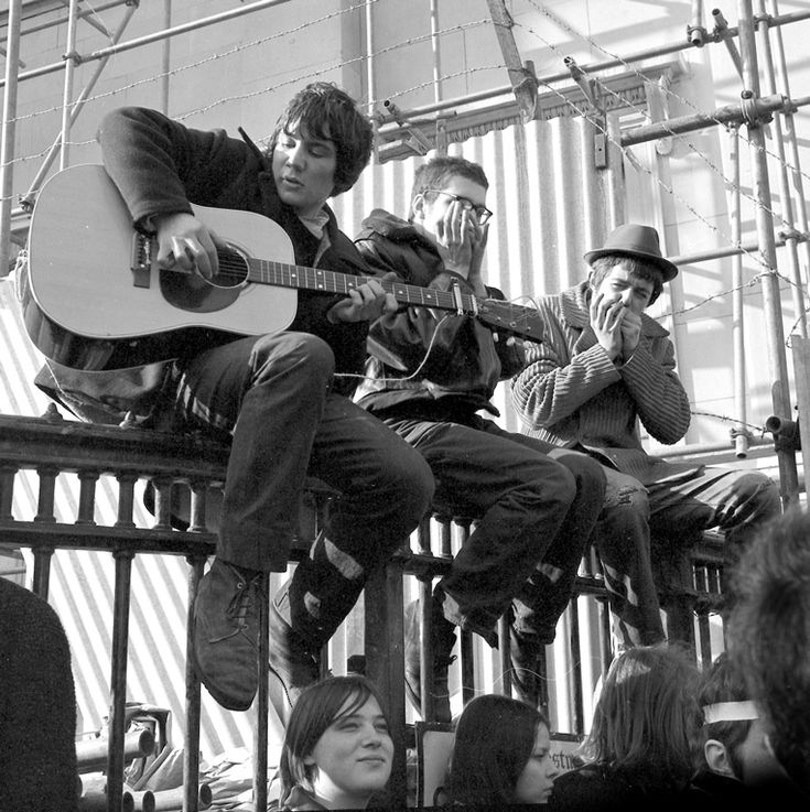 Playing the blues at the Anti-Vietnam war protest at Grosvenor Square in 1968, uncredited