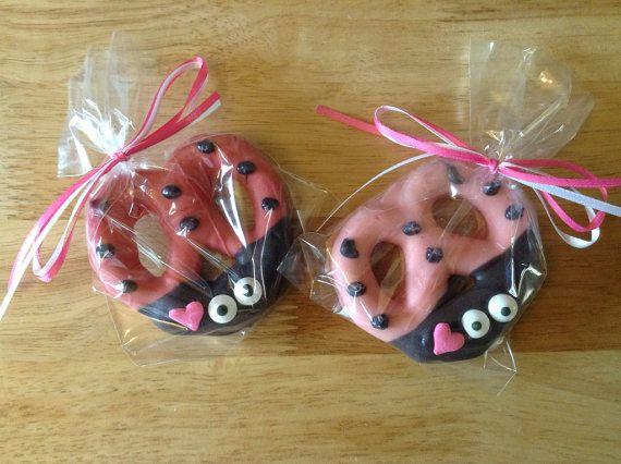 Pink Ladybug Pretzels  Angel Kisses Three Dozen by LadyBugzandLace, $90.00