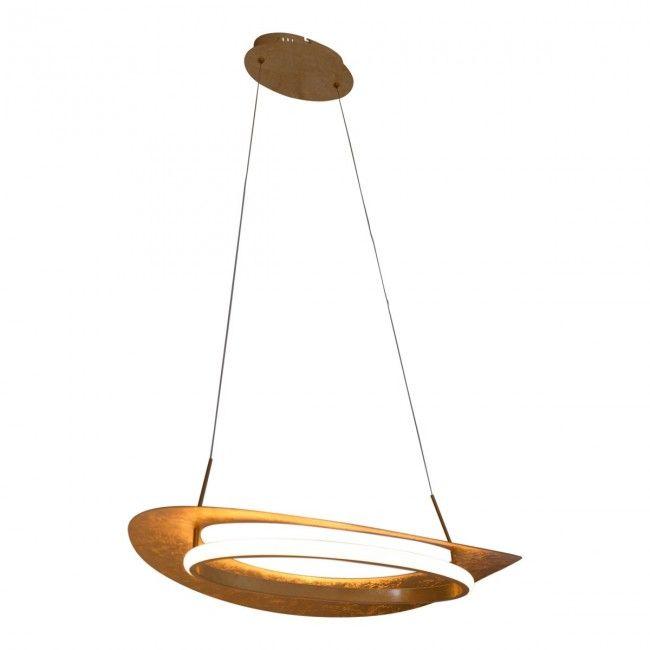 Led Hangeleuchte Blattgold Design Nave Pisa 60x40cm 780lm Nave Nach Marke Beleuchtung In 2020 Led Hangeleuchte Led Led Hangelampen
