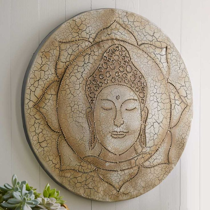 Recycled oil drum buddha wall art