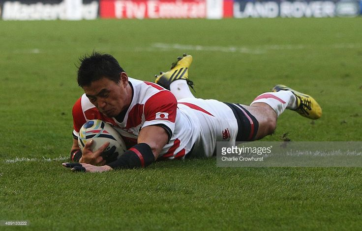 Ayumu Goromaru of Japan dives over to score his team's second try during the 2015 Rugby World Cup Pool B match between South Africa and Japan at the Brighton Community Stadium on September 19, 2015 in Brighton, United Kingdom.