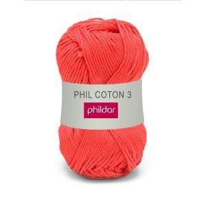Phildar Phil Coton 3 84 Rouge Lekker zacht katoenen garen 2,5 - 3