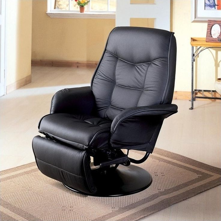 Lowest price online on all Coaster Furniture Faux Leather Swivel Recliner Chair in Black - 7501