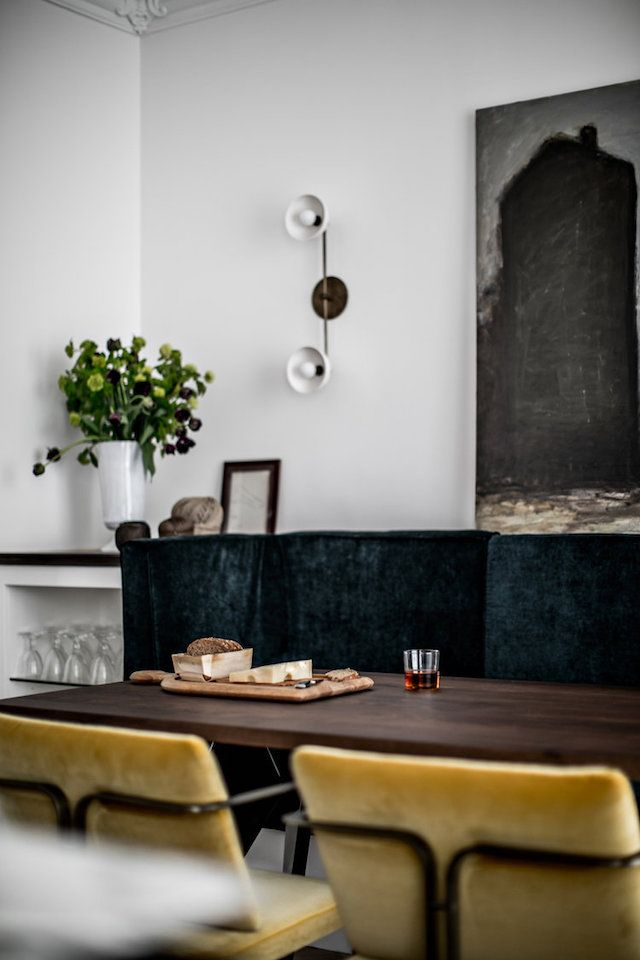 Velvet in the dining room of an elegant Paris apartment