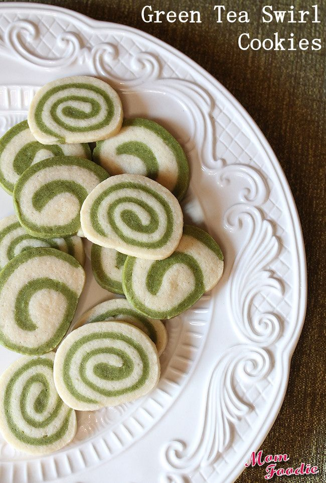 Green Tea Swirl Cookies are naturally colored and a great addition to Christmas Cookies Platters!