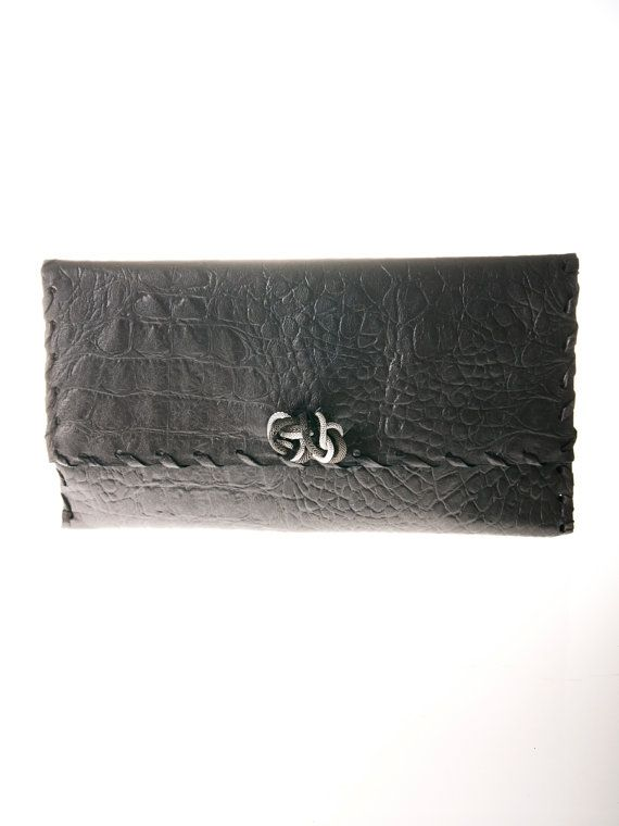 grey leather clutch bag purse handbag by ElenLovelyCollection, €45.00