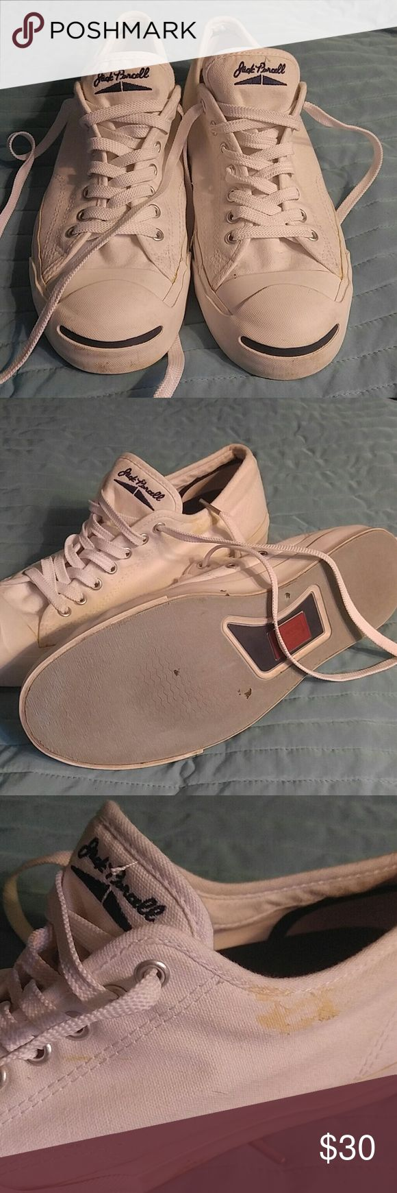 Converse Jack Purcell white sneakers Sz 10 Classic converse design in white. Item features some slight yellowing (pictured) but otherwise in very nice shape. Converse Shoes Sneakers