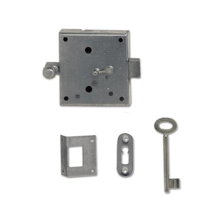 Povrchový západkový zámek s 1 klíčem, ocel pozink, použitelné vlevo a vpravo