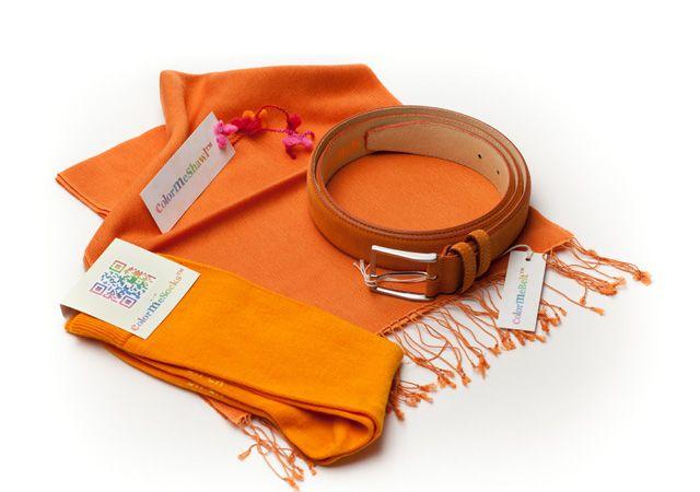 ColorMeSocks:Combi Dutch Orange  Pashmina- riem en sokken.