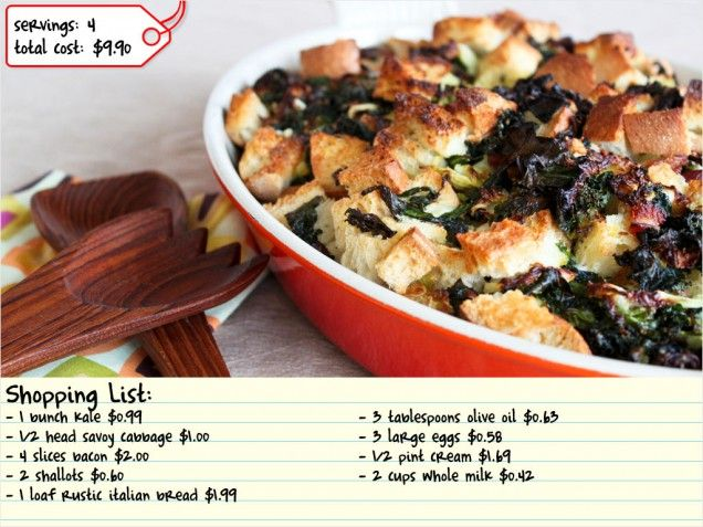 Savory Bread Pudding with Bacon and Greens. #dinner #cheap http://www ...