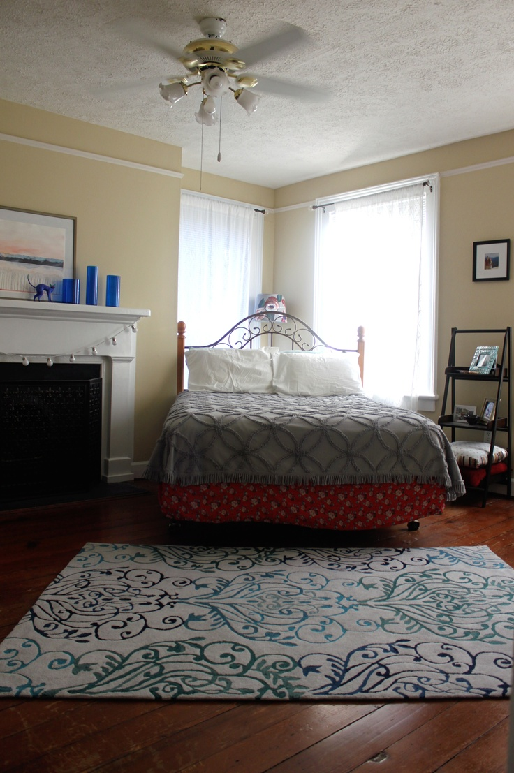 Angled bed / Urband Outfitters chenille spread / Ikea vases / West Elm  curtains http: