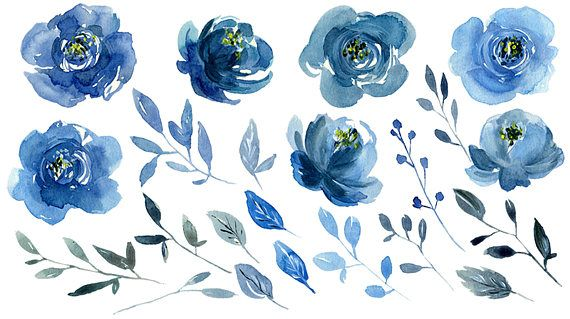 Watercolor Blue Flowers Clipart Indigo Navy Sapphire Roses Peonies