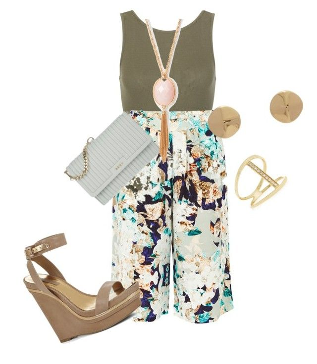 Plus size summer chic in culottes by kristie-payne on Polyvore featuring polyvore fashion style PYRUS New Look BCBGMAXAZRIA DKNY Sydney Evan Jennifer Fisher clothing