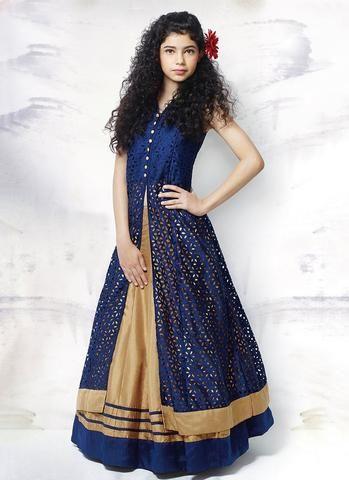 Blue Kids Wear Blossom China Net Salwar Kameez