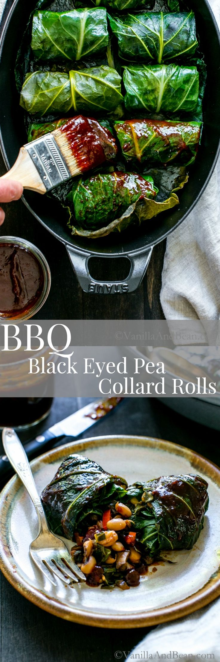 Tangy, hearty and pure comfort food! BBQ Black Eyed Pea Collard Rolls | Vegan, Gluten Free, Vegetarian, Recipe