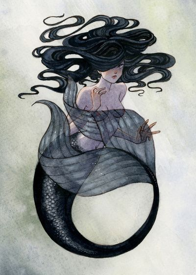 Black Mermaid Art Print