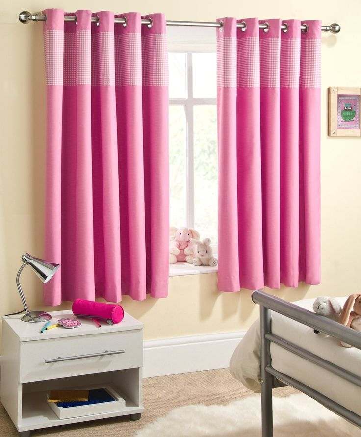 "Kitchen Curtains Amazon Co Uk: Pink Gingham Baby Bedroom Curtains Blackout Thermal 46"" X"