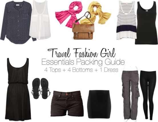 The Essentials Packing List shows you how to travel with just 8 pieces of clothing! Check out Travel Fashion Girl for the Ultimate Packing Lists!
