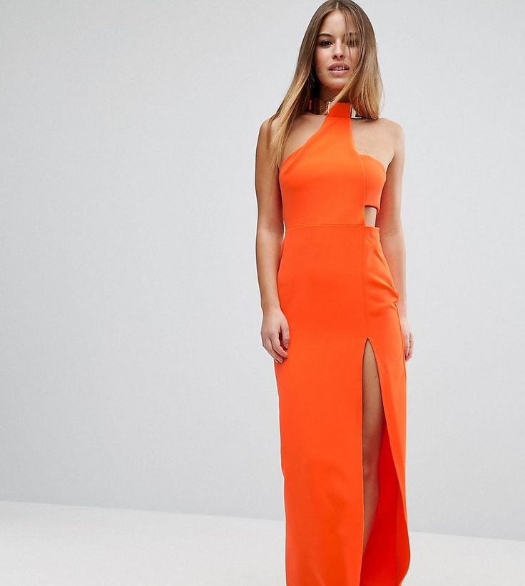 ASOS PETITE Gold Bar Halter Maxi Dress - Orange