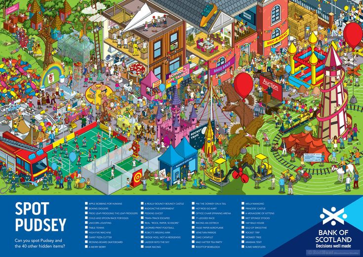 Can You Spot Pudsey? Rod Hunt was commissioned by RKCR/Y&R to create an image for Bank of Scotland for their 2016 BBC Children in Need fundraising activities with schools. Pudsey Bear is BBC Children in Need's mascot.