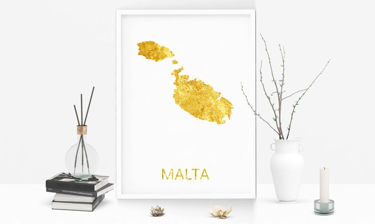 Malta Landkarte - Goldene Landkarte - Gold Poster - Malta - Valetta Karte - Malta Poster - Geschenk - Bürodekor- Digitaler Download by FineArtHunter on Etsy