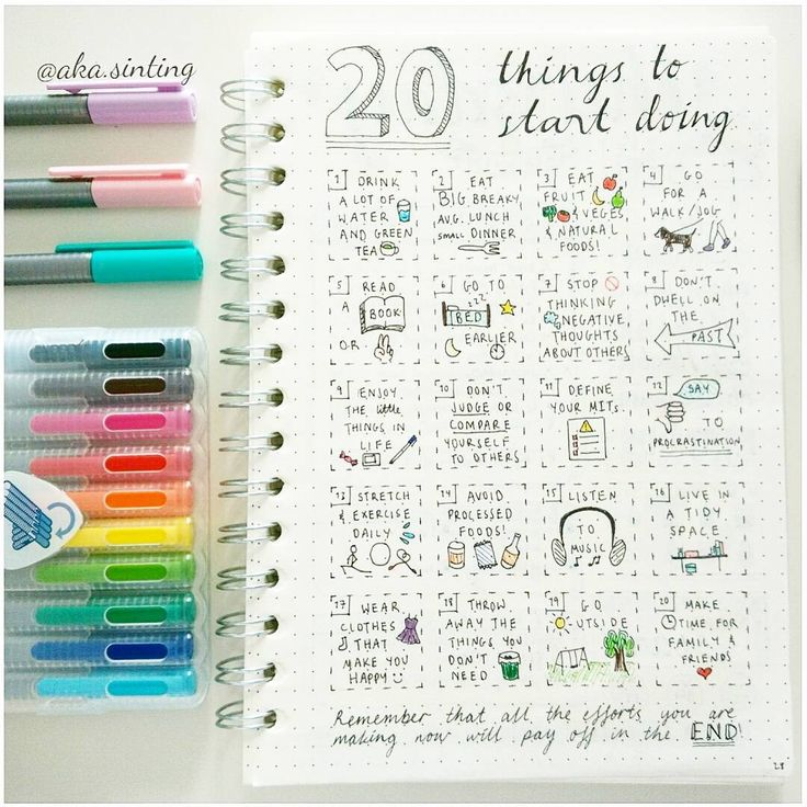 Ideas for bullet journal pages. I really like this idea, having something visual to refer to definitely increases the likelihood of me actually doing it. And if looks pretty, then well, I'll be forming habits without a doubt!