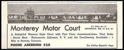 Monterey Motor Court Ad Aberdeen Maryland AC TV 1954 Roadside Photo Ad Travel