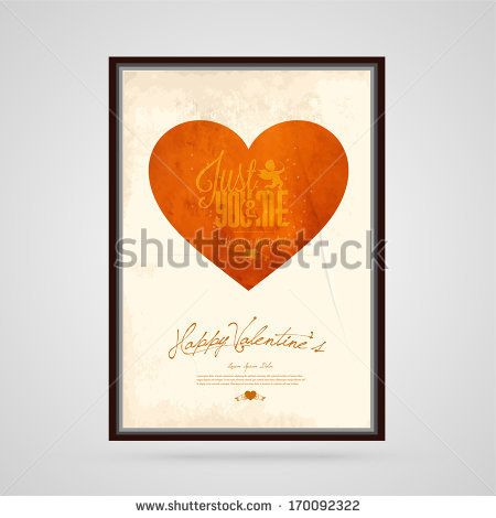 Happy Valentine's Day type text calligraphy vintage background, Hearts, ribbon, and arrow