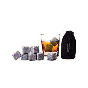 9pcs Whisky Pierres Ice Cubes/ Glaçons stéatite / Glacons en Pierre avec sac de cordon refroidisseurs de boissons Bière Rocks Granite Pouch…